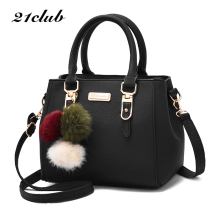 Buy 21club brand women hairball ornaments totes solid sequined handbag hotsale party purse ladies messenger crossbody shoulder bags for $14.98 in AliExpress store