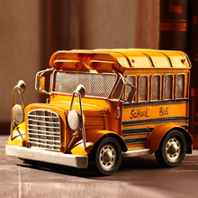 Free Shipping!Yello COLOR School Bus Model Vintage Style Shuttle Bus Model Iron American School busToy Handcraft  Decor