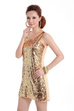 SEPTDEER European bling evening sequined shining paillette tank one-piece casual dress sexy women