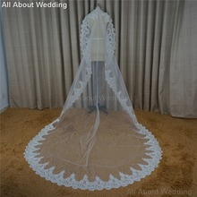 3 Meter Long Lace Bridal Veils High Quality Wedding Hair Accessory Hair Cover 2017 New Style Real Photo