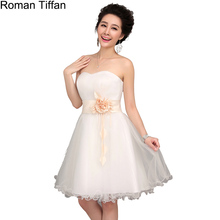 Promotion Roman Tiffan Prom Dresses Sexy Sweetheart Sleeveless Real Photo Mini Bride Banquet Party Gown Vestido De Festa