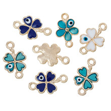 "8SEASONS Connectors Findings Four Leaf Clover Gold color At Random Evil Eye Pattern Enamel 20mm( 6/8"") x 12mm( 4/8""),10 Pcs"