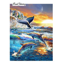 Diamond Embroidery Full Diamond Cross Stitch Dolphins Jumping diy Diamond Painting Picture Of Rhinestones House Decoration R85