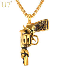 U7 American Style Hip Hop Chain Men Women Pendant Necklace Gold Color Stainless Steel Vintage Roscoe Gun Necklace Jewelry P731