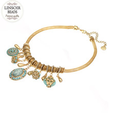 LINSOIR 2017 New African Statement Necklace For Women Gold Color Snake Chain Created Pendants Necklace Collier Femme F10010
