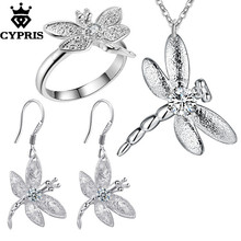CYPRIS wholesale retail set wedding party bridal party jewelry sets dragonfly  earring ring necklace fashion silver jewellery