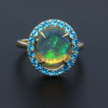 2.99ct 12*10 Oval Natural Opal With 0.036ct Apatite 10k Gold Ring Real Gemstone Jewelry