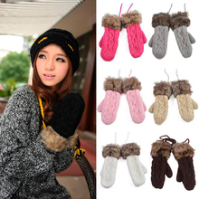 Women Winter Warm Thickened Mittens Knitted Fleece Lined Full Fingers Gloves