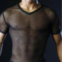 Sexy Men T Shirt Transparent Mesh See Through Tops Tees Sexy Man Tshirt V Neck Singlet Gay Male Casual Clothes T-shirt Grid X516(China)