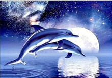 5D Full Drill Diy diamond painting mosaic handmade Animal Dolphin cross stitch crystal square diamond sets Diamond embroidery