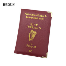 IRELAND Coutry PU Leather Passport Cover Women Travel Passport Holder Men Credit ID Card Bags Airport Passport Case