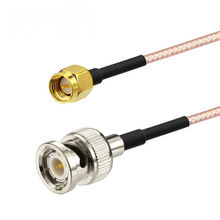 50PCS RG316 coaxial cable BNC male TO SMA male Cable 50CM