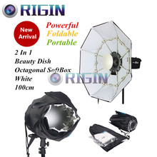 100cm Powerful Portable Foldable 2 in 1 White Beauty Dish and Octagonal SoftBox Bowen Mount For Studio Flash Free Shipping