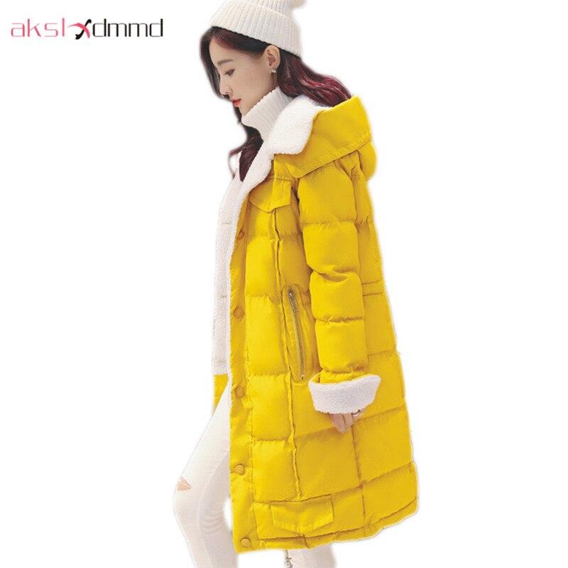 AKSLXDMMD 2017 New Arrival Winter Coat Fashion Slim Hooded Lambs Woolen Jacket Female Winter Student Thick Overcoat Parka LH1179Îäåæäà è àêñåññóàðû<br><br>