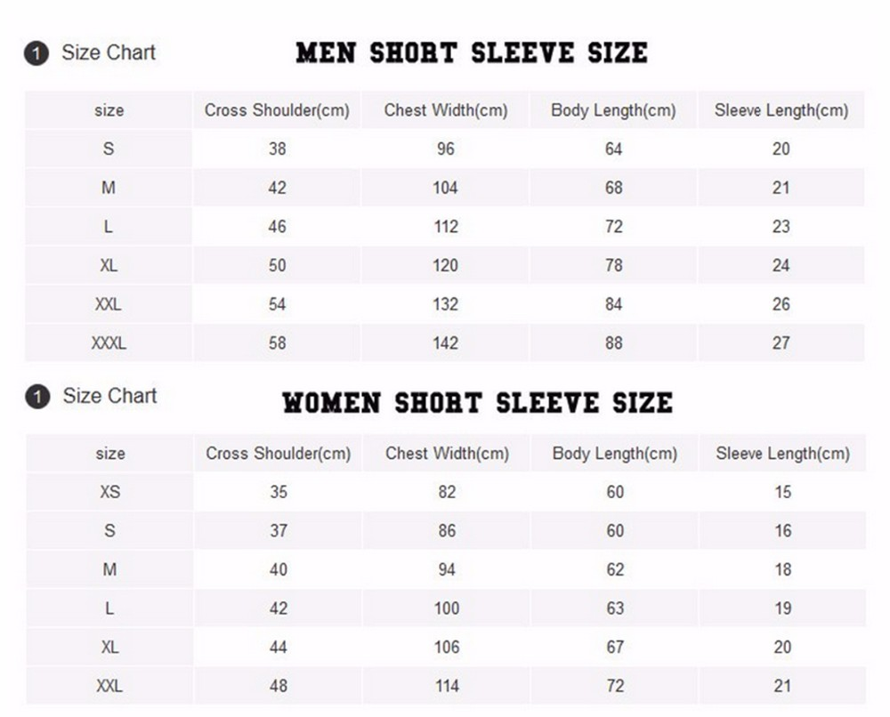 MEN WOMEN SIZE CHART