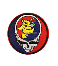 "3"" GRATEFUL DEAD LOGO Skull Bear Music Band EMBROIDERED Iron On Patch rockabilly LOGO TRANSFER MOTIF APPLIQUE Rock Punk Badge(China)"