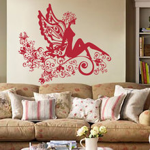 A Beautiful Spirit Sitting On The Flowers Bedroom Or Living Room Artistic Decal Removeable Adhesives Murals Vinyl Stickers S-583