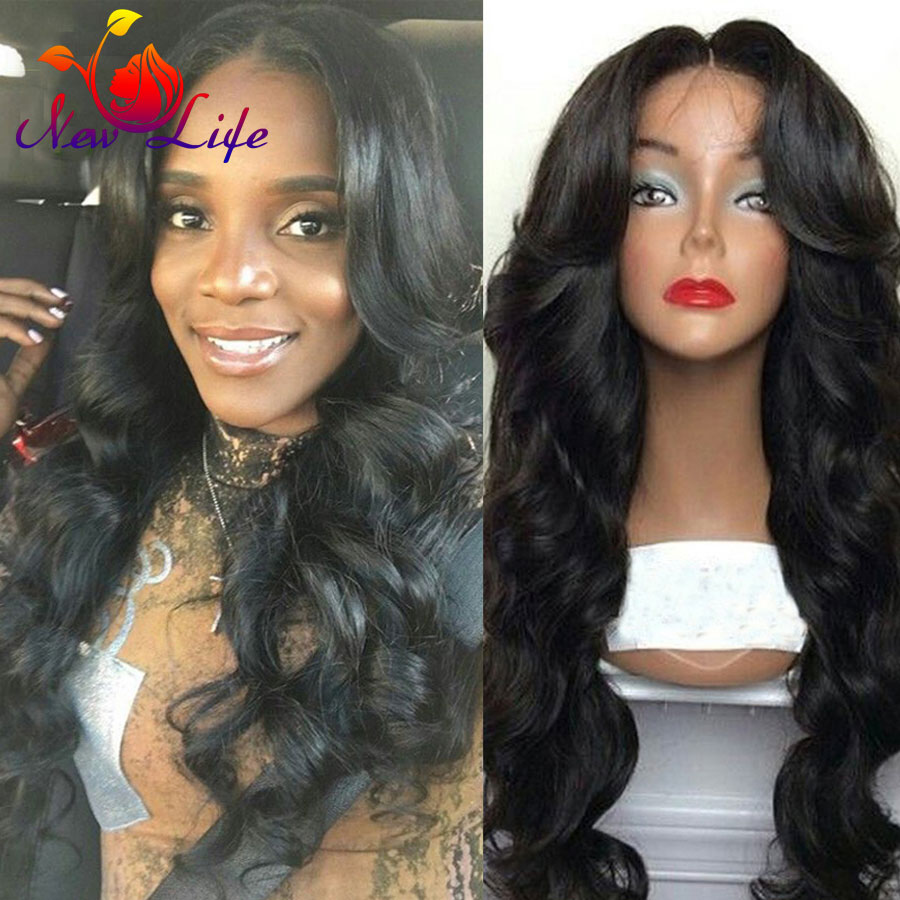 6A Grade Heat Resistant Synthetic Hair Wigs with Baby Hair Black Hair Body Wave Glueless Synthetic Lace Front Wig Free Shipping<br><br>Aliexpress