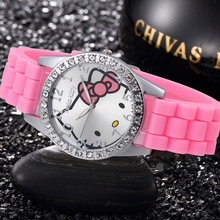 100PCS Mixed Batch Hello Kitty Lovely Girls Clock Fashion Cartoon Enfant Ceasuri Pink Silicone Watches Children Bayan Saats(China)