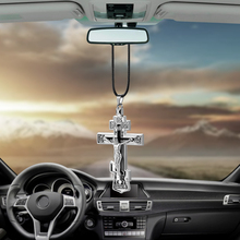 Charms Metal Jesus Crucifix Cross Car Rearview Mirror Decoration Hanging Pendant Automobiles Decor Ornaments Accessories Gifts(China)