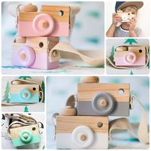Cute Wooden Camera Toy Cartoon Baby Toy Kids Creative Neck Camera Photography Prop Decoration Children Playing House Tool Hot