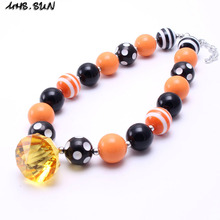 MHS.SUN 2PCS Newest Kid Chunky Necklace Orange+Black Halloween Girl Children Bubblegom Bead Chunky Necklace Toddle Kid Jewelry(China)