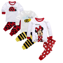 2-7T Children Hello Kitty 100% Cotton Pyjamas T-shirt Pants 2pcs Kids Clothing Set Baby Girl Boy Minnie Mickey Warm Pajamas Suit
