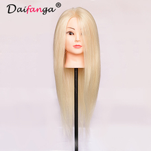 Free Shipping!! New Fashionable 80% Human Real Hair Mannequin Head With Training Wig Professional Manufacturer In China #613(China)