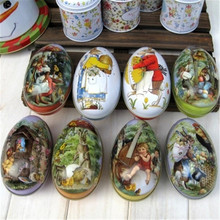 6 Pcs Easter Egg Painted Eggshel Tin Boxes,Iron Pills Case Gift ,Vintage Style Iron Candy Box Girl Favor Home Decoration