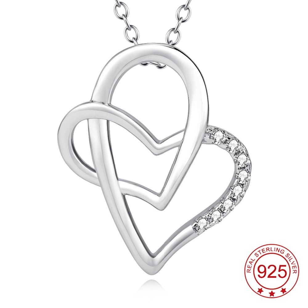 YFN Genuine 925 Sterling Silver Cross Double Love Heart Crystal Pendant Necklace Fashion Jewelry Collier For Women(China (Mainland))
