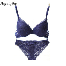 Free shipping 2017 hot Pop transparent floral lace bra & brief sets thin cup sexy deep-V push up women underwear bra set(China)