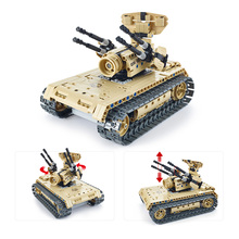 502Pcs Utoghter 69004 2.4G RC Battle Tank Building Blocks Kits Toy Bricks Anti-aircraft Tank Car Model Remote Control Tank(China)