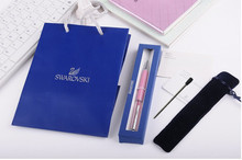 Diamond on Top Swarovski crystal pen with brand logo box Bag pouch refills Ballpoint pen wedding Christmas gift(China)