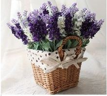 Simple life decorative Flowers European pastoral style rattan basket square Mini Rose overall lavender flower simulation