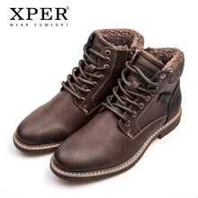 XPER Merk Waterdichte Motorlaarzen Mannen Lace-Up Winter Schoenen Warm Pluche Comfort Schoeisel Lederen Heren Laarzen Casual # XHY12604(China)