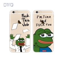 DTFQ Pepe The Frog Cartoon Clear Soft Back Cover Sad Frog Fxxk This Job Fashionable Back Phone Case for iPhone 8 6 6s 7 7 Plus