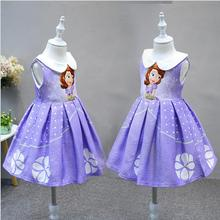 Good quality hot 2017 new Girls Summer elsa dresses Cute Princess Sofia dress Fancy Halloween costume kids dress for girls free