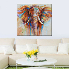 "32""*32"" Hand Painted Oil Painting Elephant Unframed Canvas Wall Picture Decoration Paintings On Canvas Home Art Abstract Decor(China)"