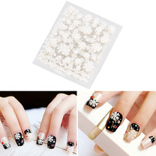 12 sheets Christmas White Snowflakes Design Cute 3D Nail Art Stickers Water Transfer DIY Decals Christmas Nail Art Stickers
