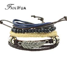 FANHUA Multilayer Bracelet Black Beads Pu Leather Wrap Bracelets for Men and Women Wristband with Silver Color Feather
