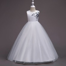 Summer Princess Wedding Bridesmaid Long Flower Girl Dress for Children Kids Clothes White Party Tutu Dresses for Girl Clothes(China)