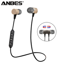 Buy ANBES Sport Bluetooth Headphones Metal Magnetic Wireless Earphones Stereo Bass Headset Earbuds Handsfree Microphone for $3.99 in AliExpress store
