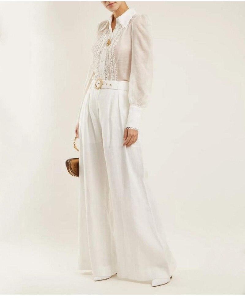 Designer White Pants Sets Women Suit Puff Sleeve Palazzo Blouses ... cb048d7f66de