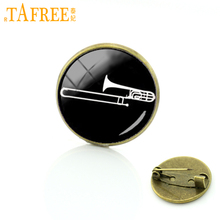 TAFREE Vintage Music Band trombone brooches Musical instrument silhouette Art badge musician men women pins jewelry gifts T629(China)