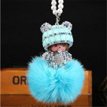 Cool Roadster monchichi Crystal HandBag Pendant trendy Keyring Keychain For Car Purse Bag Buckle key holder Key Chains
