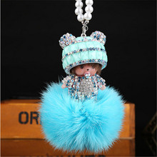 Cool Roadster monchichi Crystal HandBag Pendant trendy Keyring Keychain For Car Purse Bag Buckle key holder Key Chains(China)