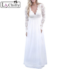 Buy La Chilly Robe Longue 2017 Autumn Winter Womens Dress White Open Back Long Sleeve Crochet Maxi Party Christmas Dress LC61687 for $23.77 in AliExpress store