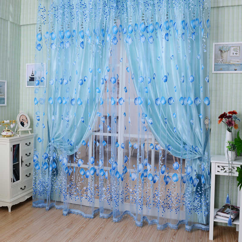 Hot New Style Tulip Sheer Balcony/Window Curtain Beads Tassel Door Scarf Drapes Valance Divider