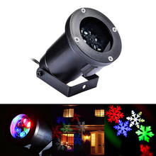 Waterproof Projector Lamps RGBW Snowflake LED StageLights Outdoor/Indoor Decor Spotlights for Christmas Party Holiday Decoration