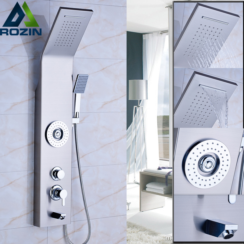 Brushed Nicke Bath Shower Panel Set with 5 Water Outlet Functions Bathroom Shower Column Tower with Handshower Body SPA Massages(China (Mainland))
